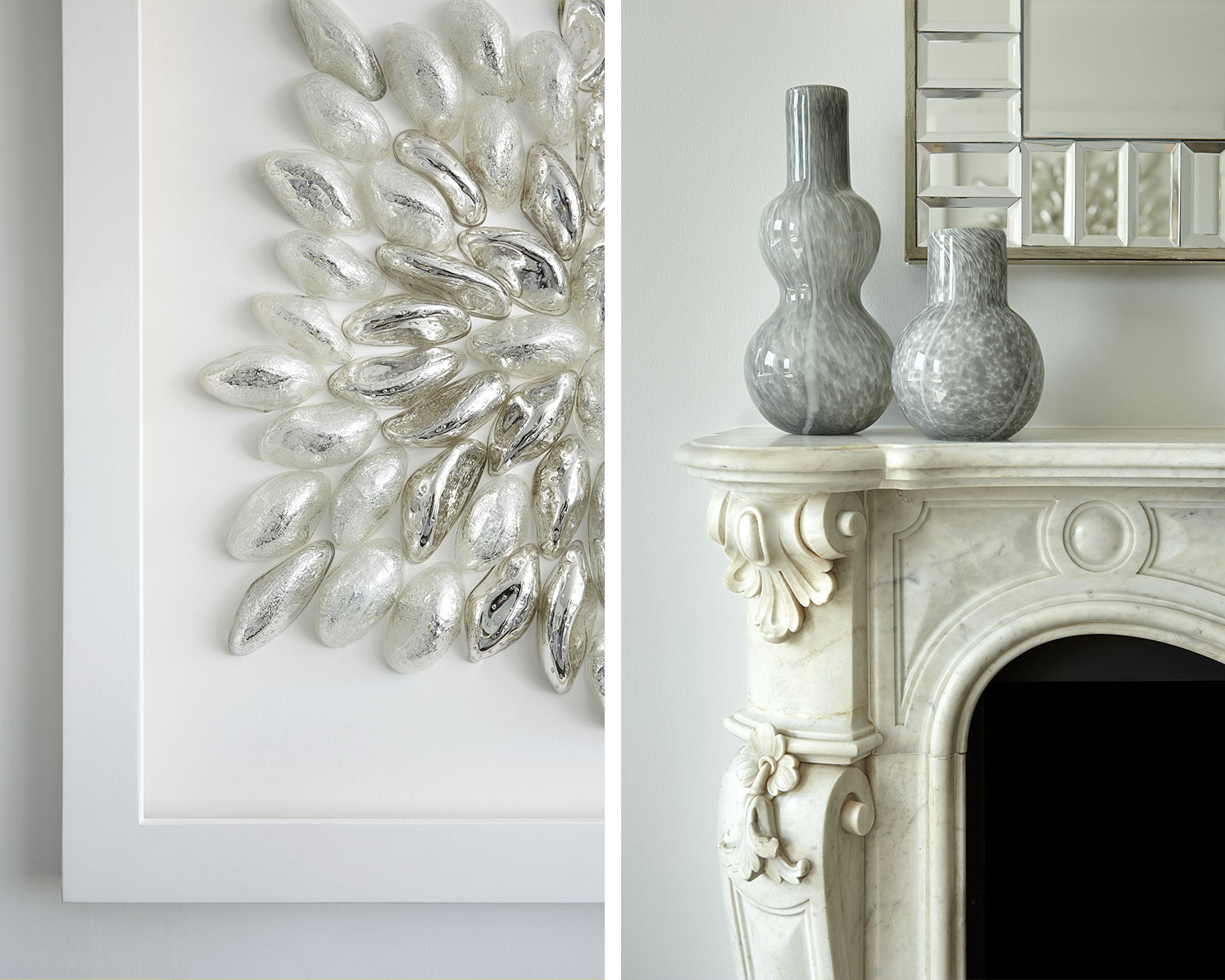 Ornate marble fireplace surround design in New York by Darci Hether
