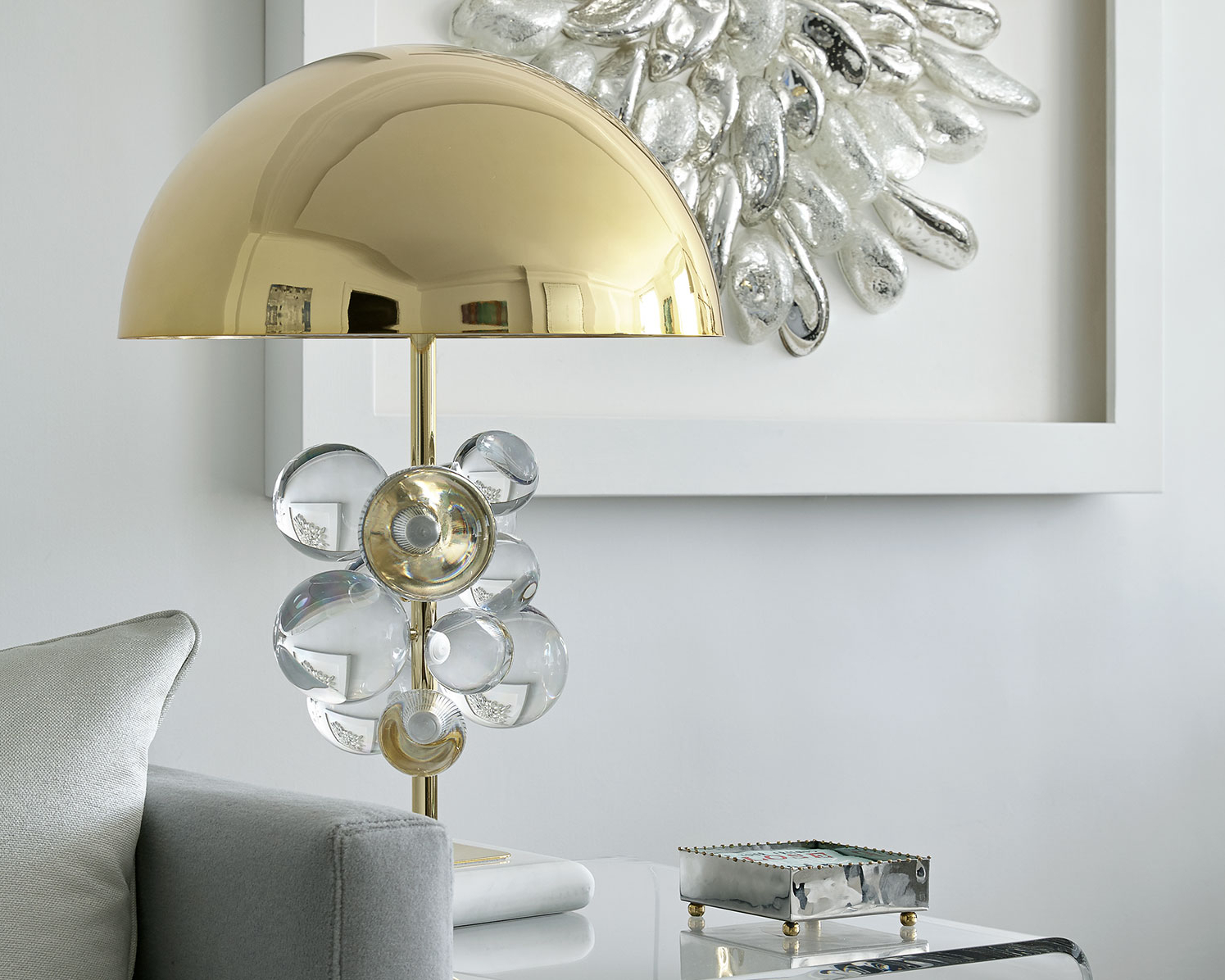Living room interior design with fun, funky accessories, lighting and accent furnishings in a NYC apartment
