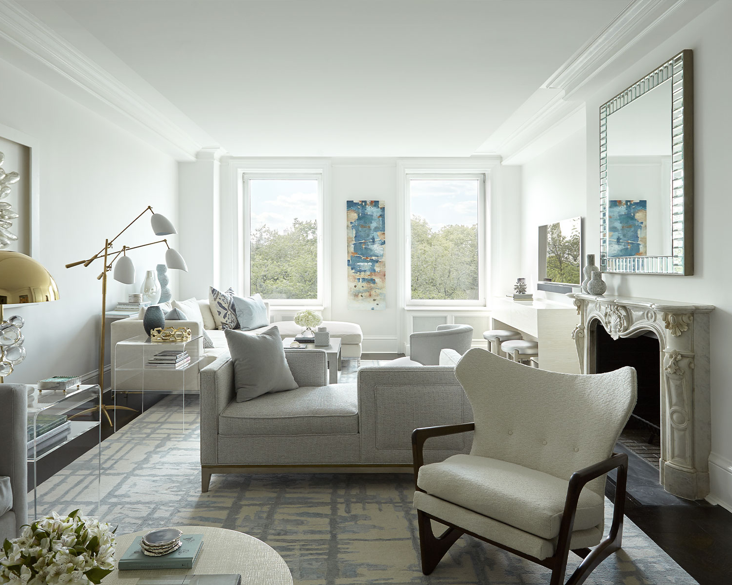 Stunningly chic living room filled with funky accessories, lighting and accent furnishings designed by Darci Hether