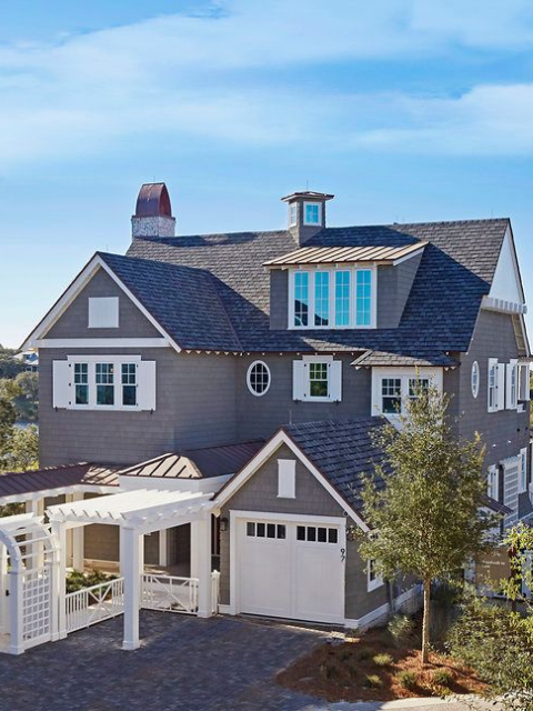 family home watesound beach 30a blue-gray exterior white verandah dhny