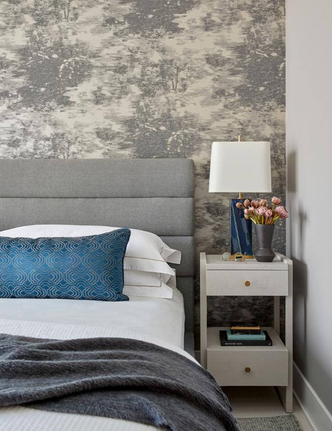dhny tribeca interior design bedroom masculing gray dark blue wallpaper restful sleep
