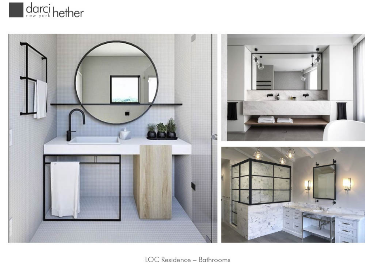 Darci Hether New York, Mood Board, Digital Renderings, Bathroom Design, New York City, Bridgehampton